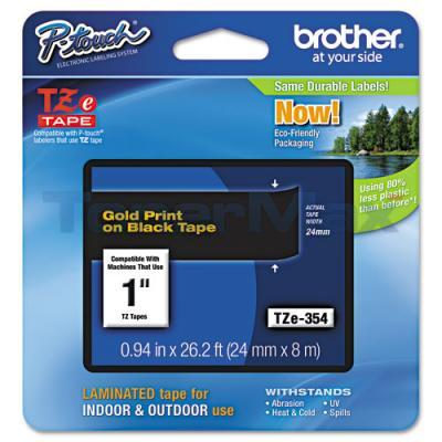 BROTHER TZ LAMINATED TAPE GOLD ON BLACK 0.94 IN X 26.2 FT